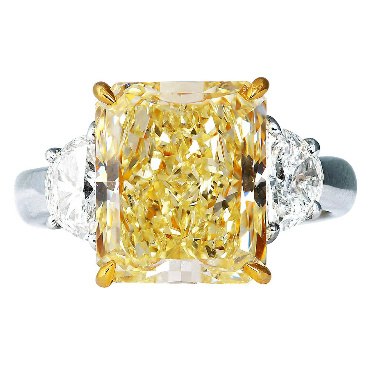 yellow optimized white with tcw princess diamond band cut gold natural ring canary