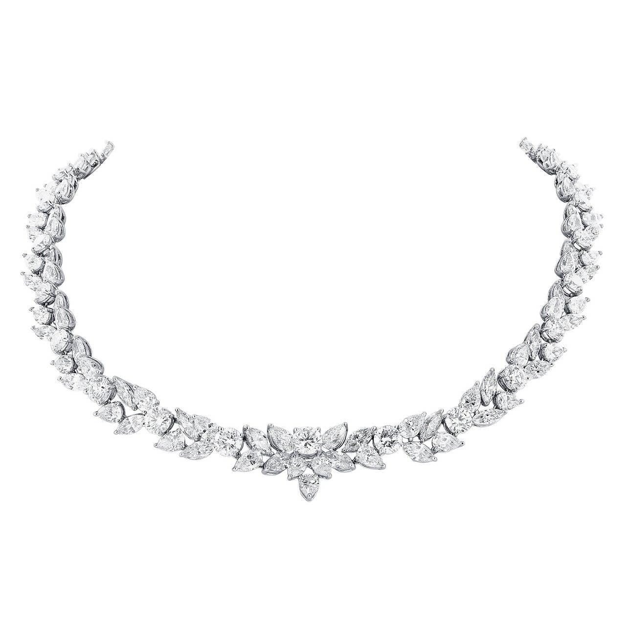 48.95 Carat Fancy Shape Diamond Platinum Necklace 1