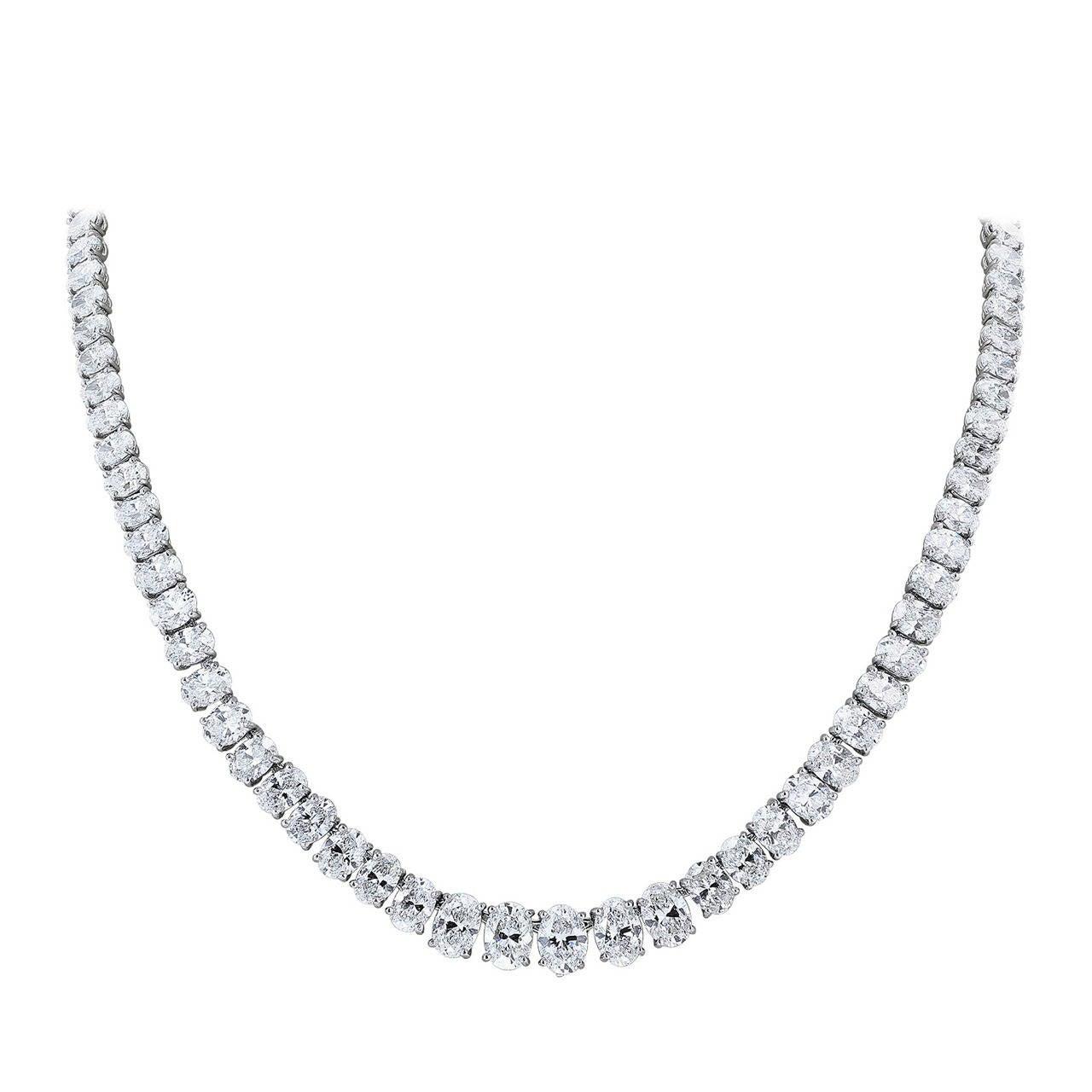 Oscar Heyman 30.99 Carat Oval Diamond Platinum Necklace
