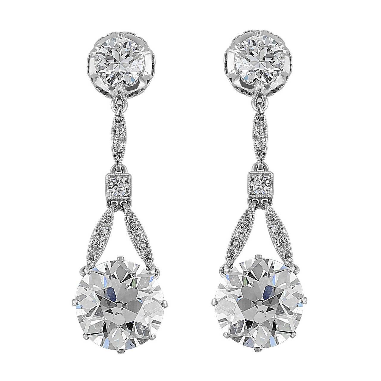 6.37 Carat Old European Diamonds Drop Platinum Earrings