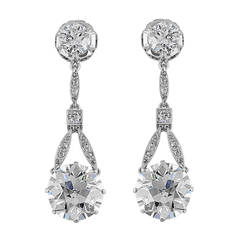 6.37 Carat Old European Diamonds Drop Platinum Earrings