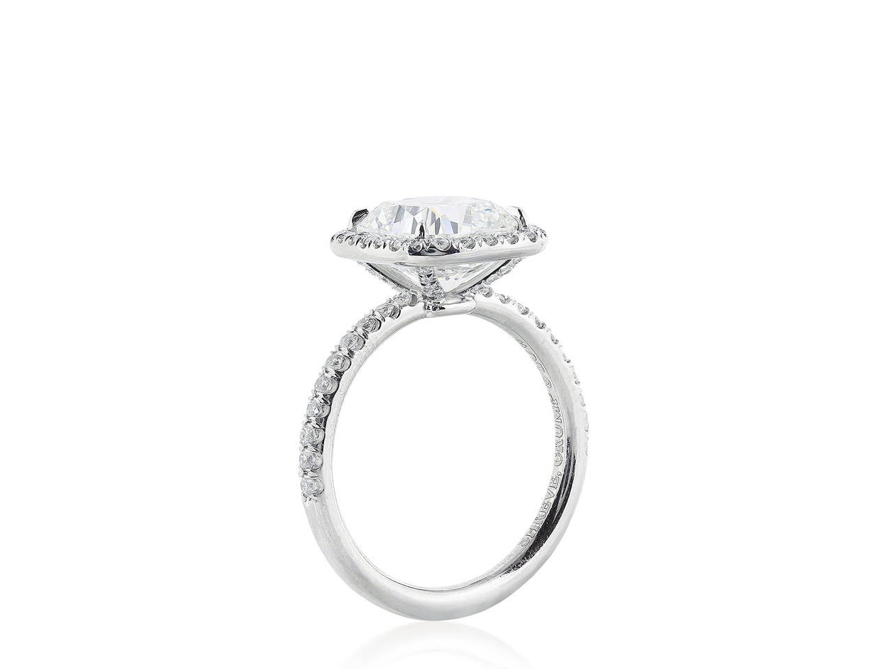 4 01 Carat Cushion Cut Diamond Platinum Ring For Sale at 1stdibs