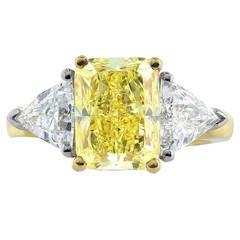 4.01 Carat Radiant Cut Canary Diamond Engagement Ring