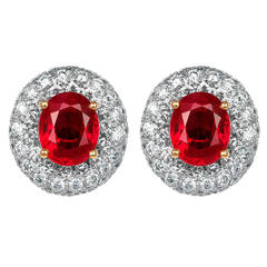 4.53 Carat Burma Ruby Cluster Earrings