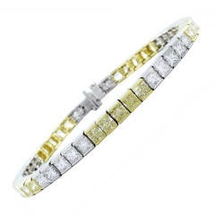 14.73 Radiant Cut Colorless and Canary Diamond Platinum Bracelet