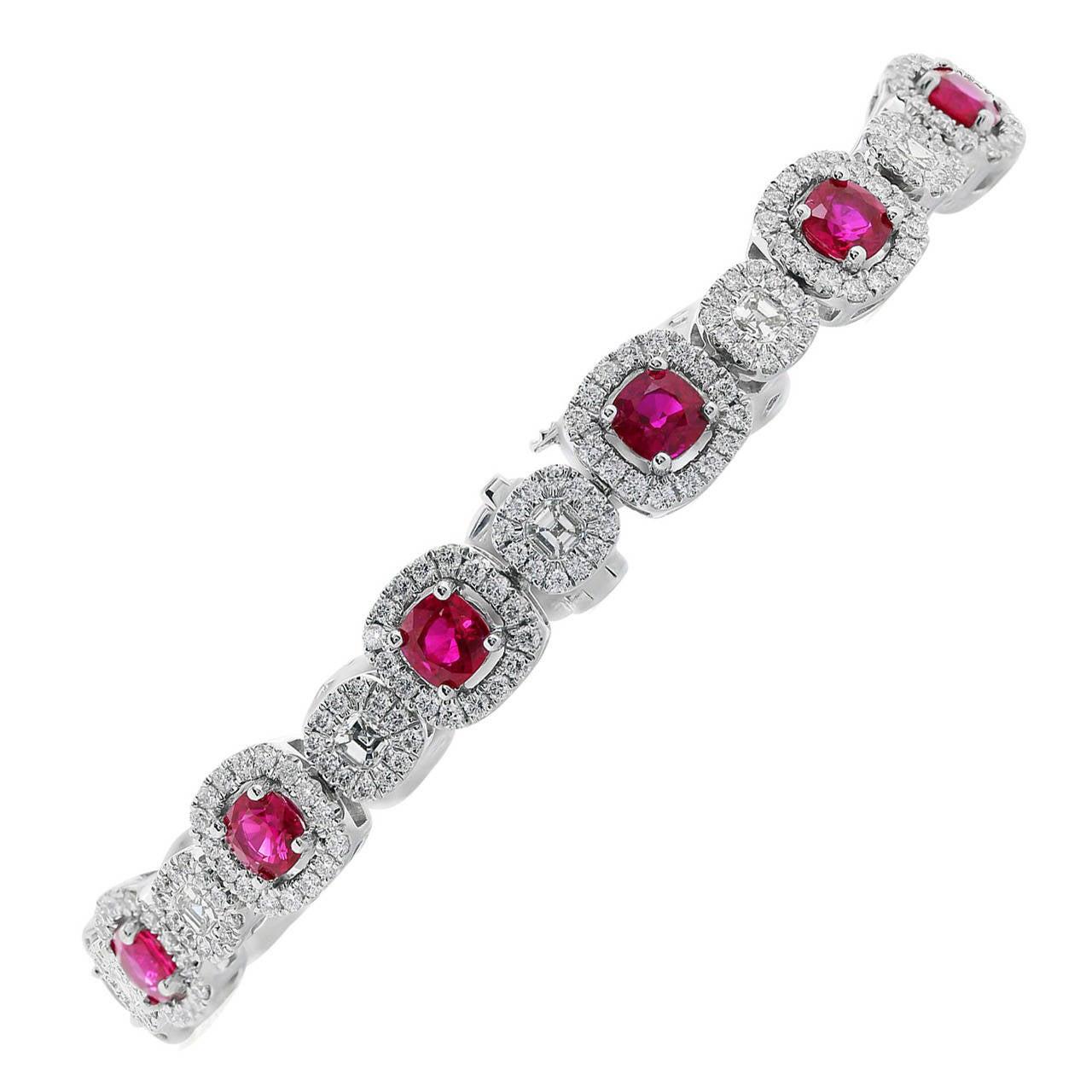 Burma Ruby Diamond Gold Bracelet