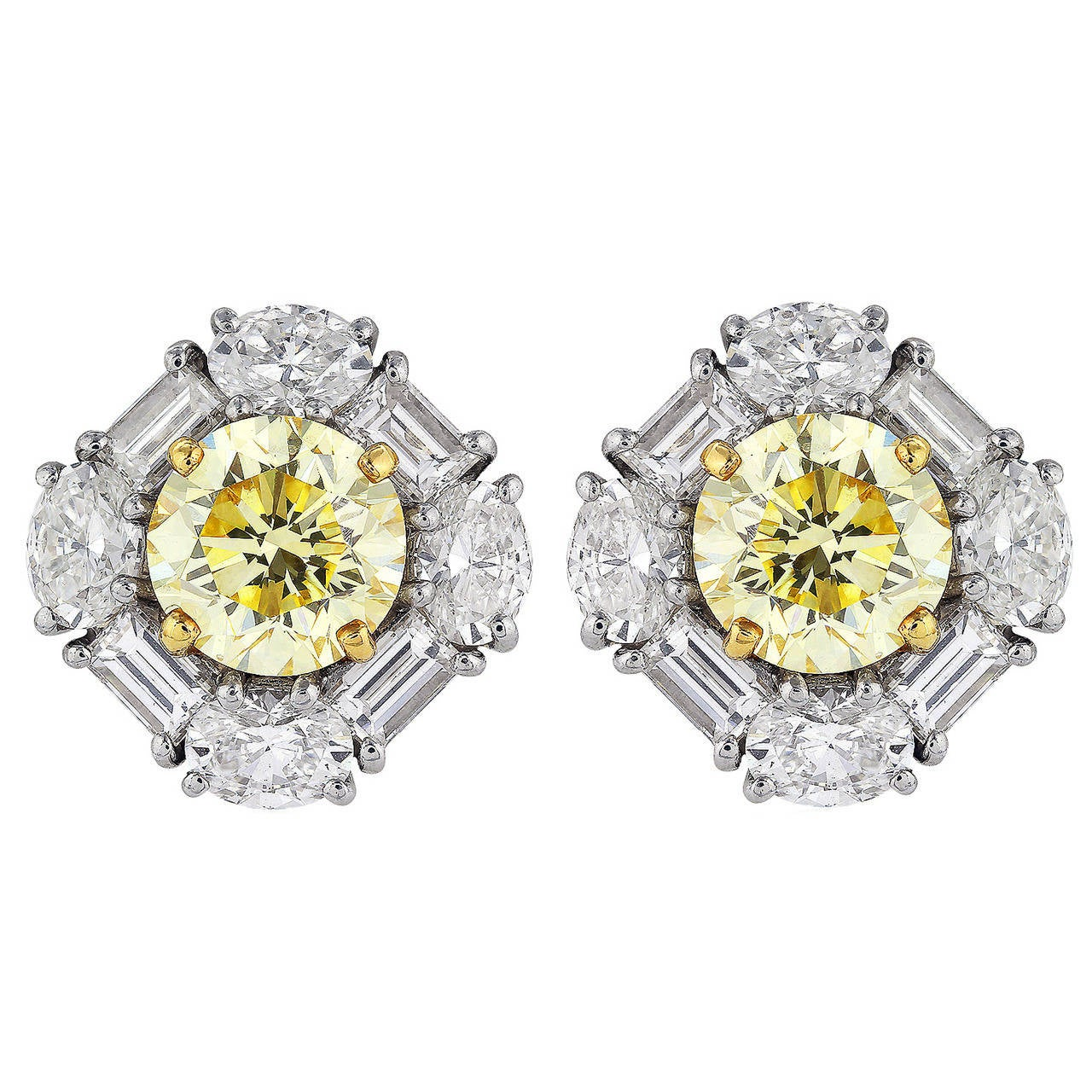 3.78 Carat Canary Diamond Cluster Earrings