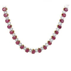 Oval Shaped Ruby Diamond Platinum Necklace