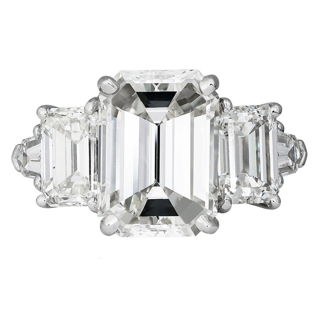 5 12 Carat Emerald Cut Three Stone Diamond Platinum Ring at 1stdibs