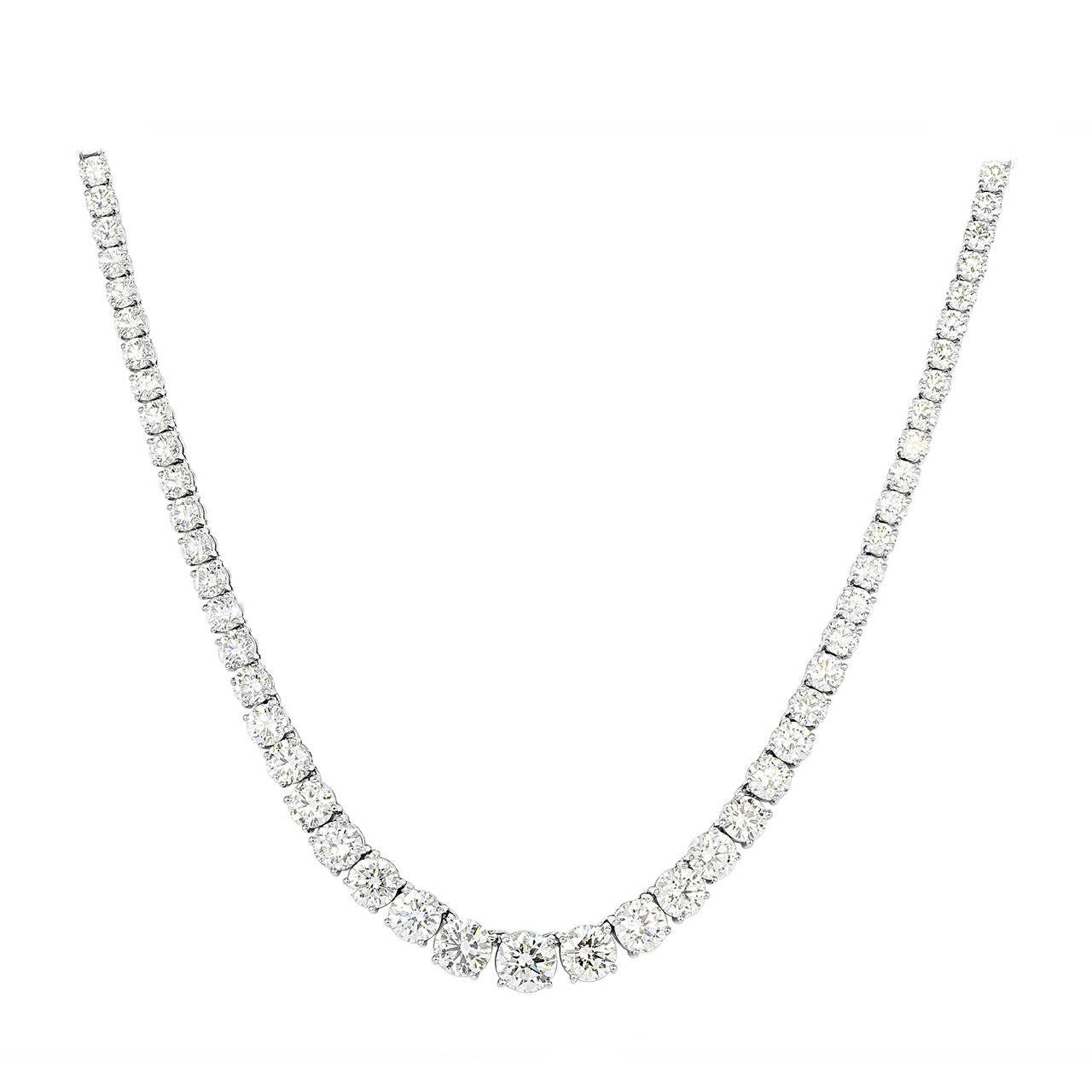 36.75 Carat Diamond Riviere Platinum Necklace