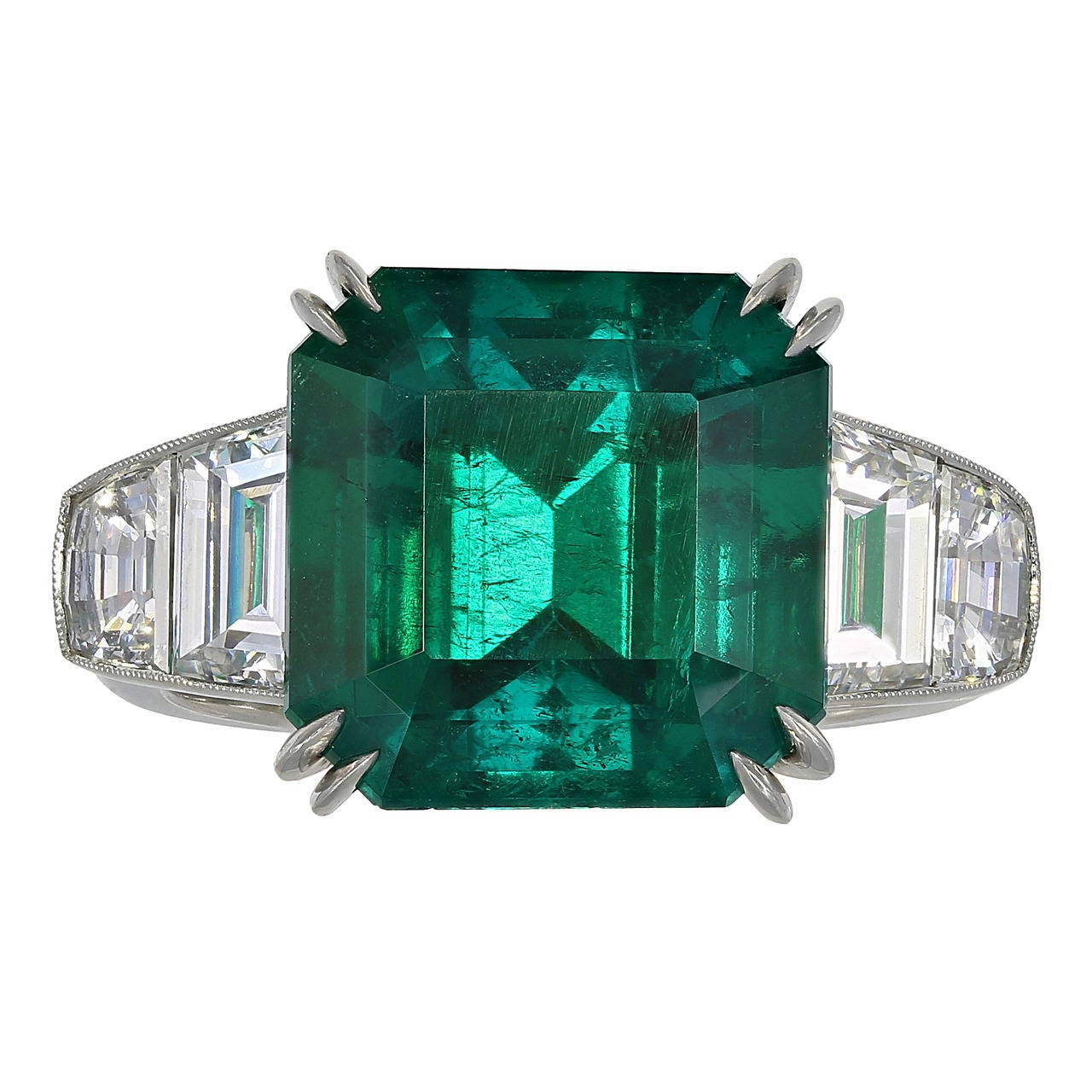 7.28 Carat Colombian Emerald Diamond Ring For Sale