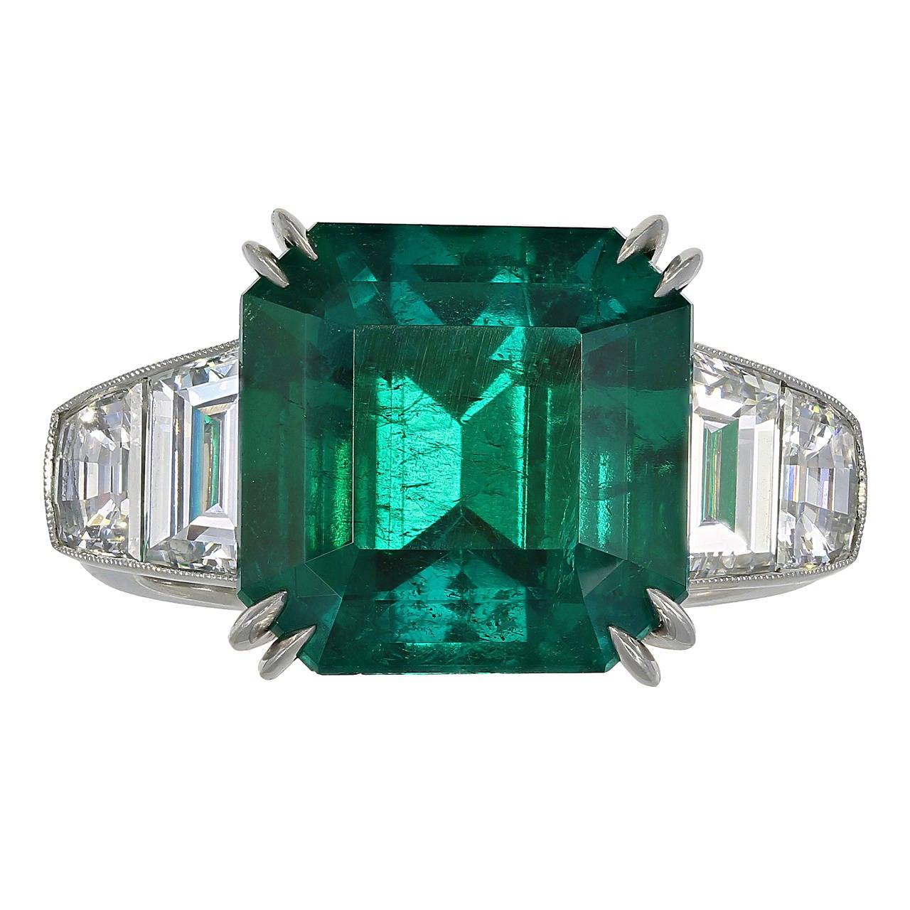 7.28 Carat Colombian Emerald Diamond Ring