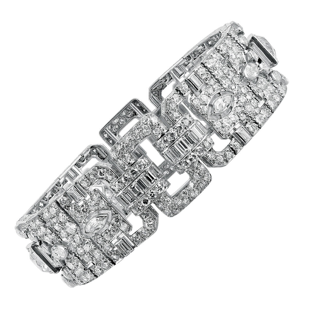 Lacloche Freres Art Deco Diamond Platinum Bracelet For
