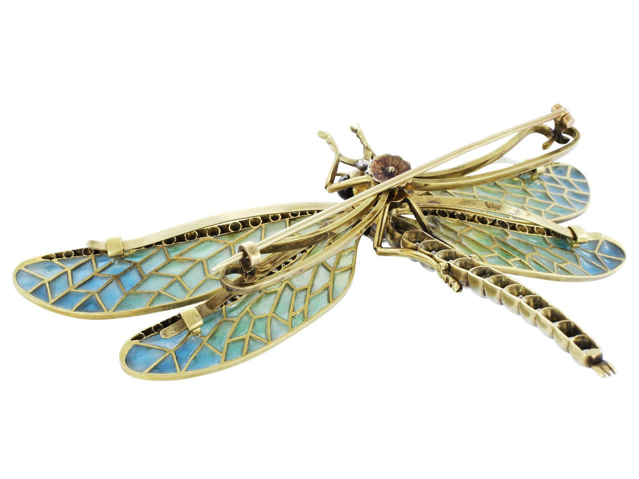 Antique Plique-a-Jour Dragonfly Pin In Excellent Condition For Sale In Chestnut Hill, MA