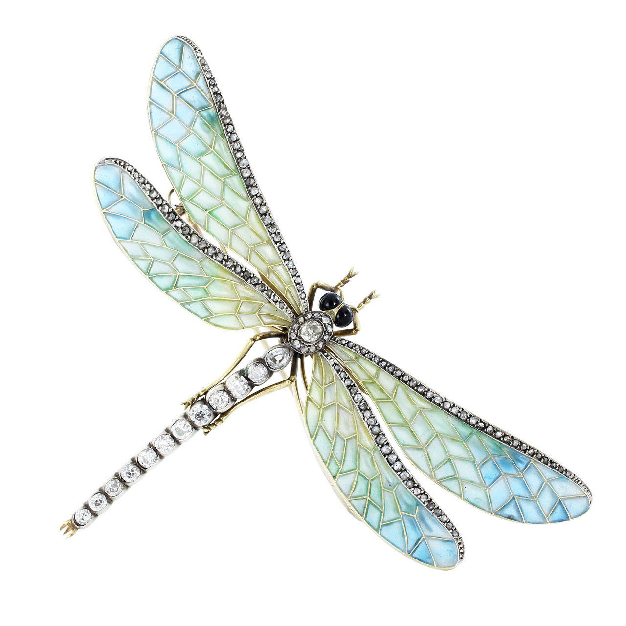 Antique Plique-a-Jour Dragonfly Pin