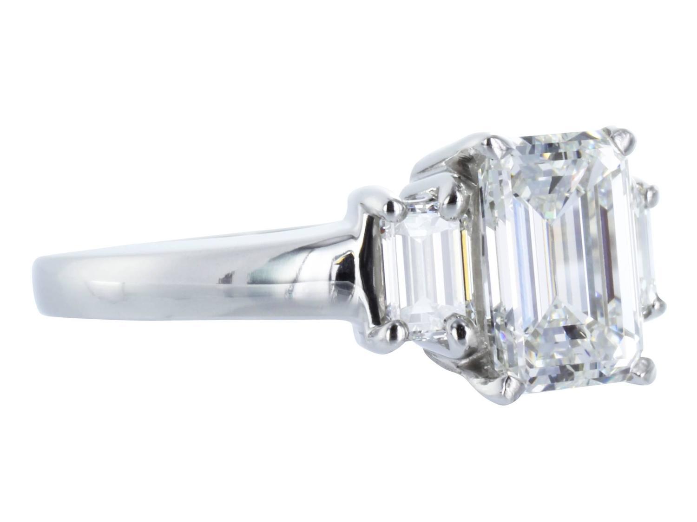 1 61 Carat GIA Cert Emerald Cut Diamond Platinum 3 Stone Ring For Sale at 1st