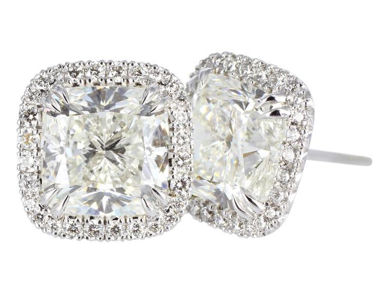 4 04 Carats GIA Cert Cushion Cut Diamonds Gold Earrings at 1stdibs