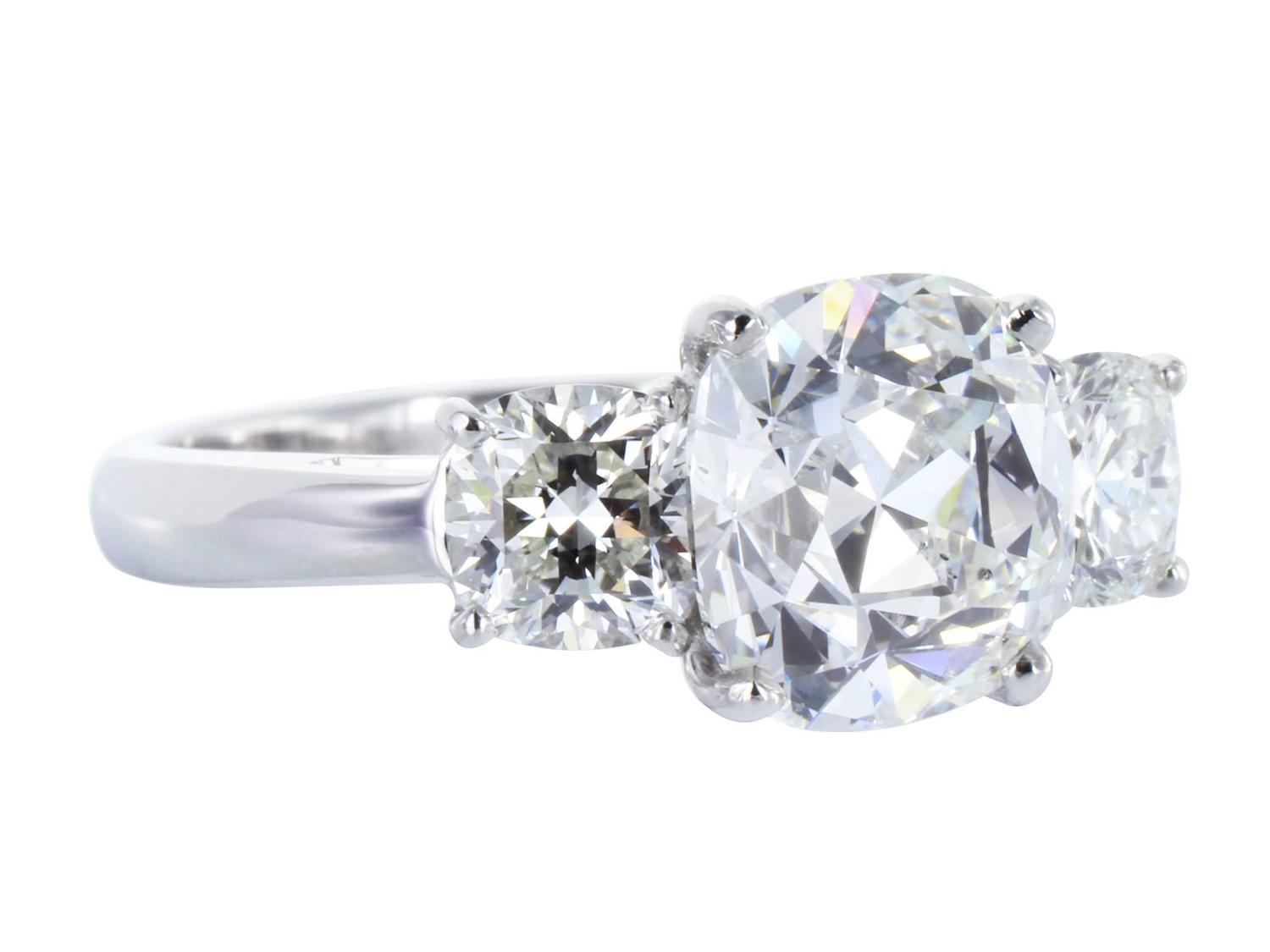 2 36 Carat GIA Cert Cushion Cut Diamond Platinum Engagement Ring For Sale at