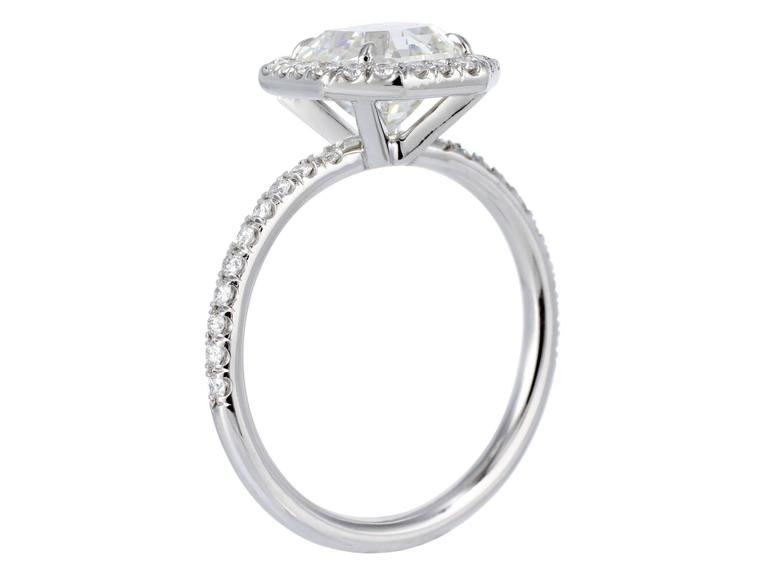 2.37 Carat GIA Cert Asscher Cut Diamond Platinum Halo Ring In Excellent Condition For Sale In Chestnut Hill, MA