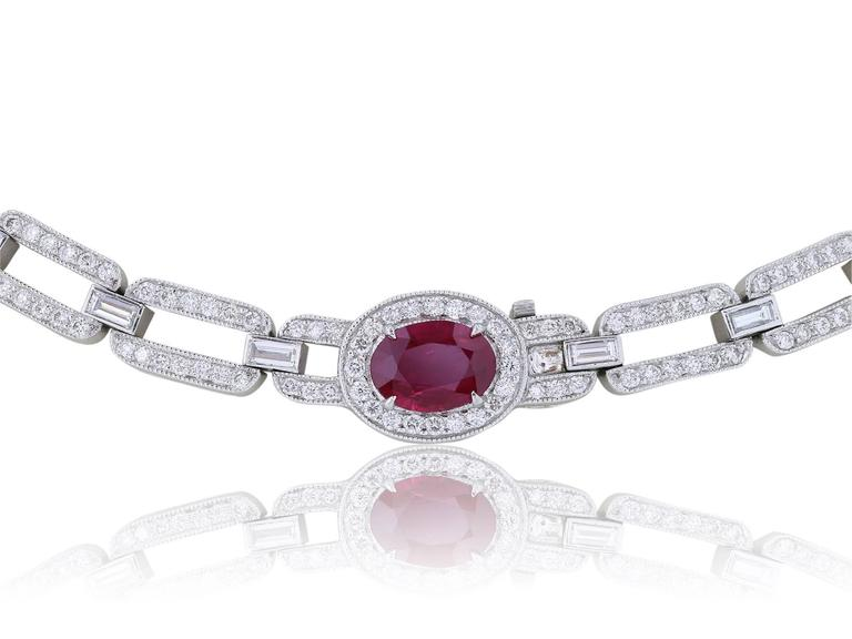 Burma Ruby Diamond Platinum Necklace In Excellent Condition For Sale In Chestnut Hill, MA