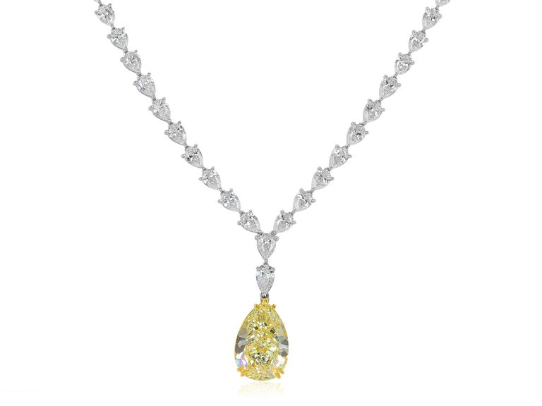 Women's 15.98 Carat Natural Yellow Pear Shape Diamond Two-Color Gold Necklace For Sale