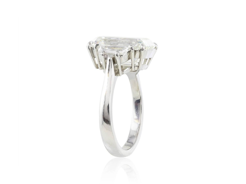 6 01 Carat GIA Cert Emerald Cut Diamond Platinum Three Stone Engagement Ring
