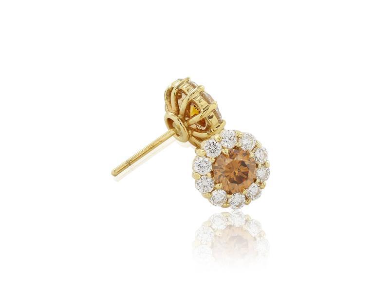 .87 Carats Cognac Diamonds Gold Stud Earrings  2