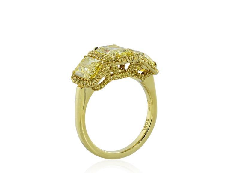 353 Carat Radiant Canary Stone Diamonds Gold ThreeStone