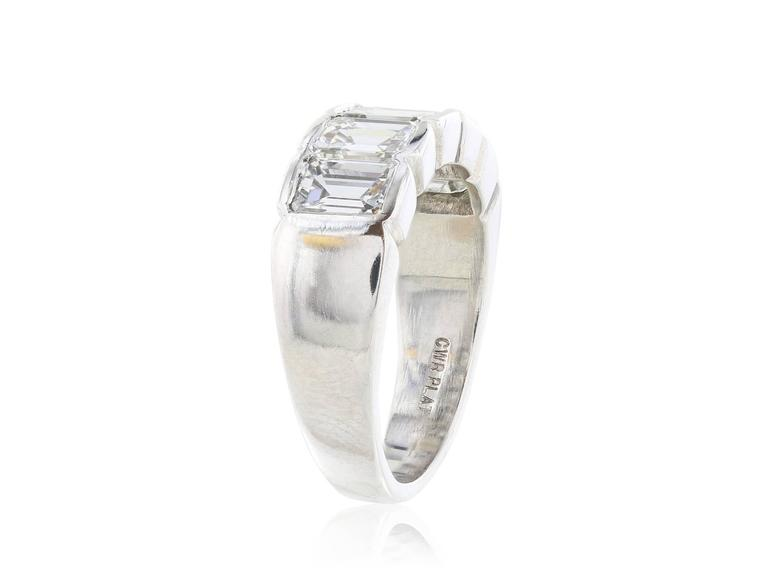 Platinum custom made 5 stone estate ring consisting of 5 emerald cut diamonds having a total weight of 3.16 carats ,H-I color and  VS1 clarity, respectively.