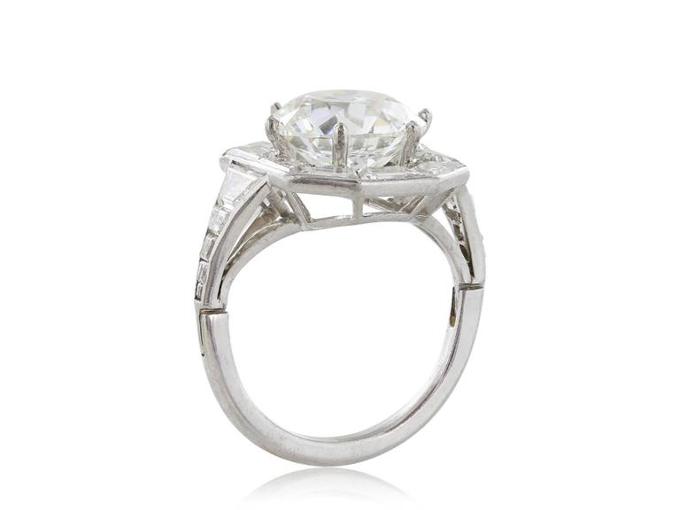 Art Deco GIA Certified 4.92 Carat Old European Cut Diamond Ring For Sale