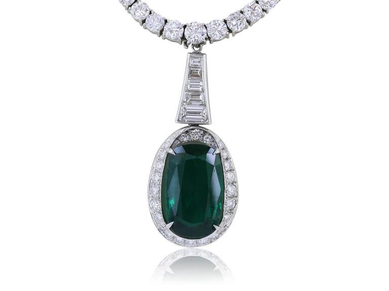 Platinum Diamond 13.60 Emerald 8.09 Carat Drop Necklace 2