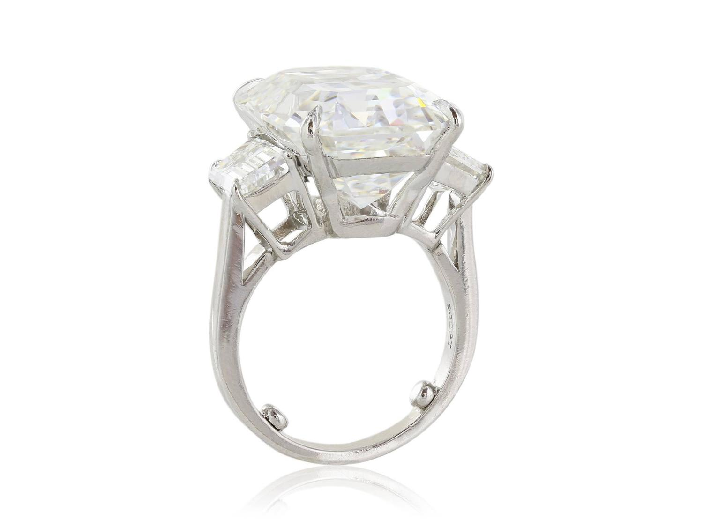 15 13 Carat GIA I VS2 Emerald Cut Diamond Platinum Three Stone Ring For Sale