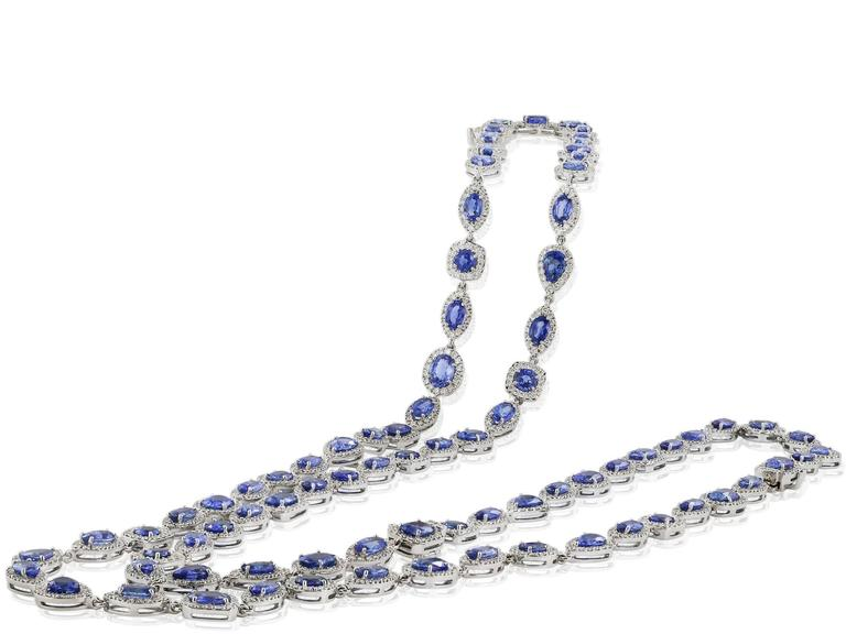 47.98 Carat Sapphire Diamond Opera Length Necklace and Bracelet In Excellent Condition For Sale In Chestnut Hill, MA