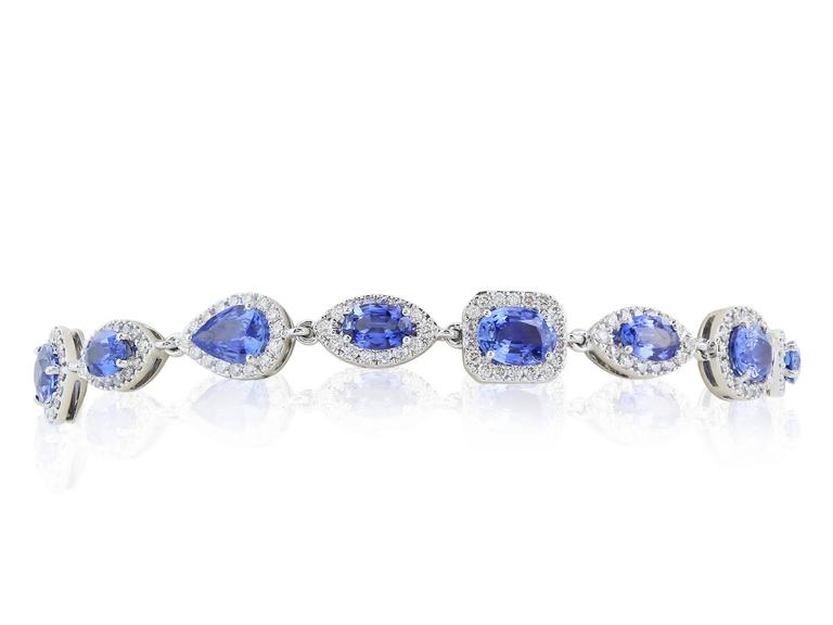 Women's or Men's 47.98 Carat Sapphire Diamond Opera Length Necklace and Bracelet For Sale
