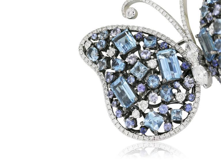Aquamarine Sapphire Diamond Butterfly Brooch 2