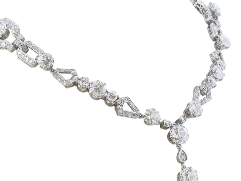 45 Carat Edwardian Sautoir Diamond Necklace In Excellent Condition For Sale In Chestnut Hill, MA