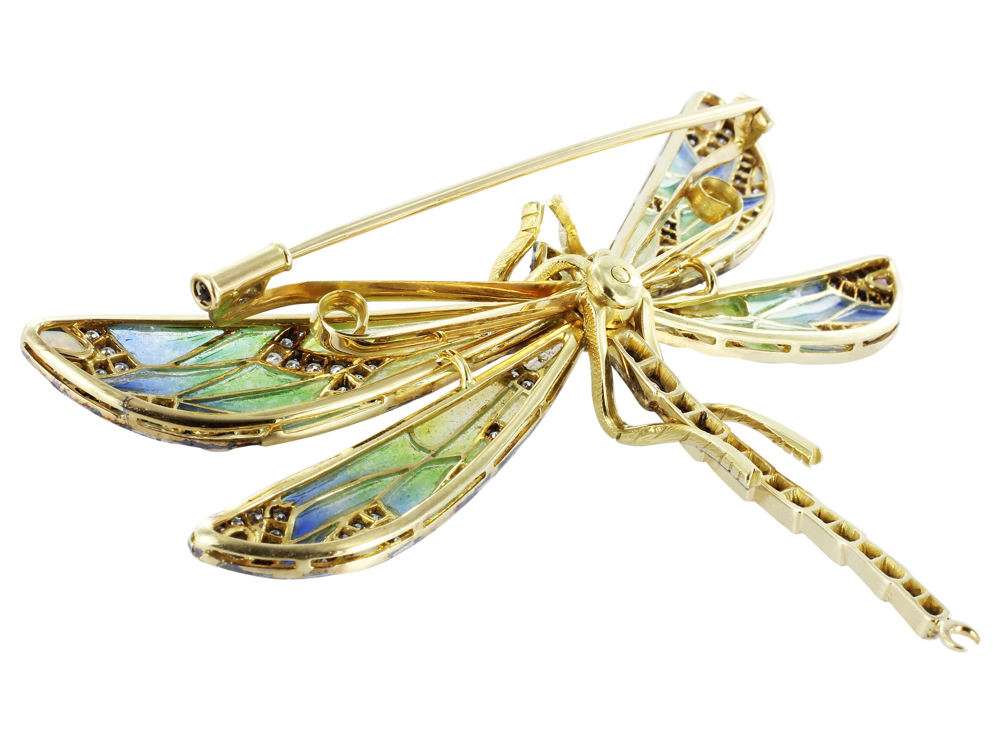 Plique-a-Jour Dragonfly Pin at 1stdibs