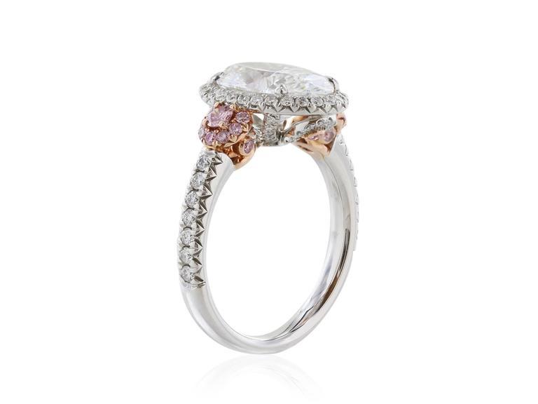 GIA Certified 3.01 Carat Oval Diamond Fancy Pink Diamond Platinum Ring 2