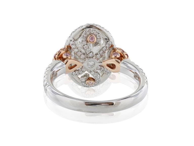 GIA Certified 3.01 Carat Oval Diamond Fancy Pink Diamond Platinum Ring 3