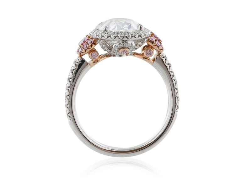 GIA Certified 3.01 Carat Oval Diamond Fancy Pink Diamond Platinum Ring 5