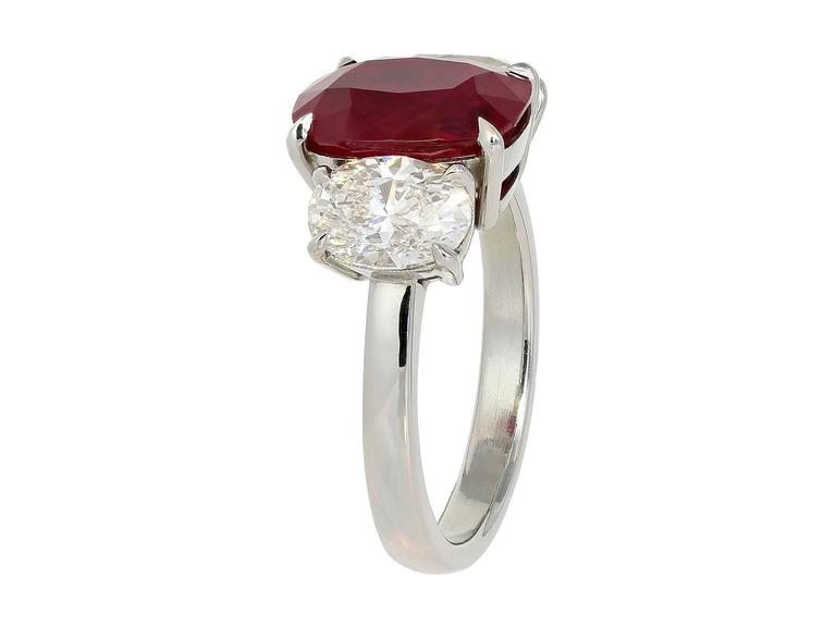 GRS Certified 4.23 Carat Burmese Pigeon's Blood Red Ruby Ring 2