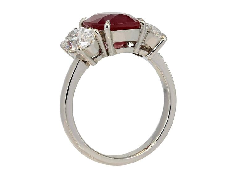 GRS Certified 4.23 Carat Burmese Pigeon's Blood Red Ruby Ring 3