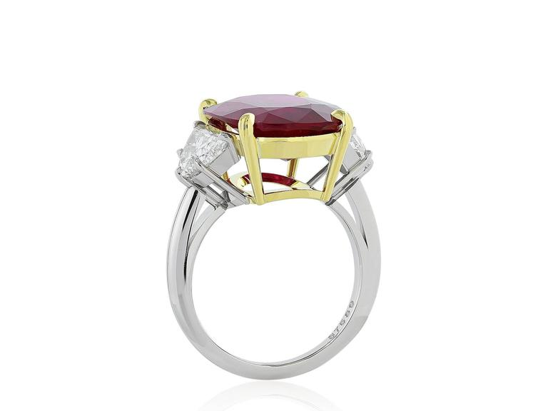 AGL Certified 10.24 Carat Thai Ruby Diamond Three Stone Ring 2