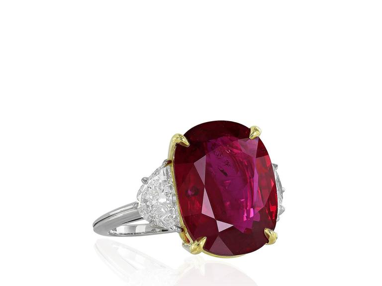 Women's AGL Certified 10.24 Carat Thai Ruby Diamond Three Stone Ring For Sale