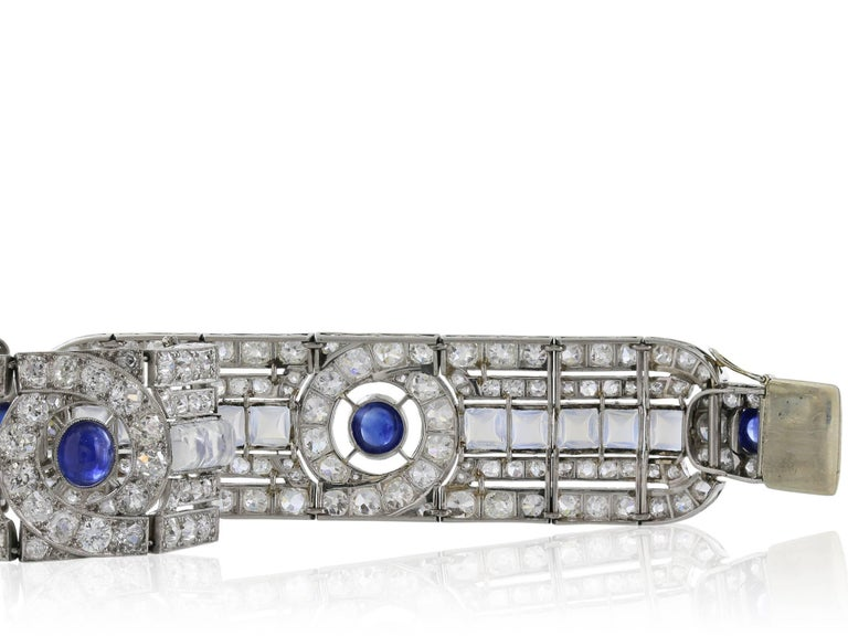 Art Deco Sapphire Moonstone Diamond Platinum Bracelet In Excellent Condition For Sale In Chestnut Hill, MA