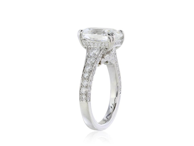 GIA Certified 4.09 Carat G/VS1 Oval Diamond Engagement Ring 2