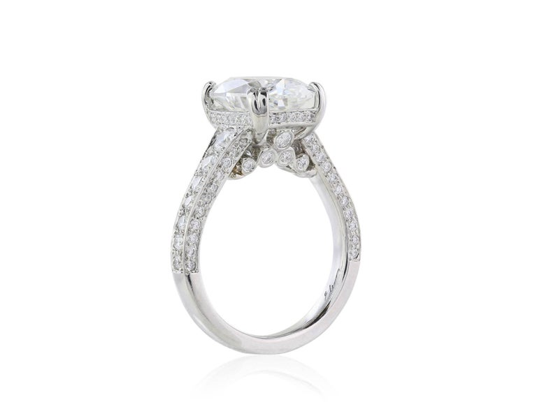 GIA Certified 4.09 Carat G/VS1 Oval Diamond Engagement Ring 3