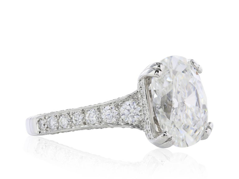GIA Certified 4.09 Carat G/VS1 Oval Diamond Engagement Ring 5