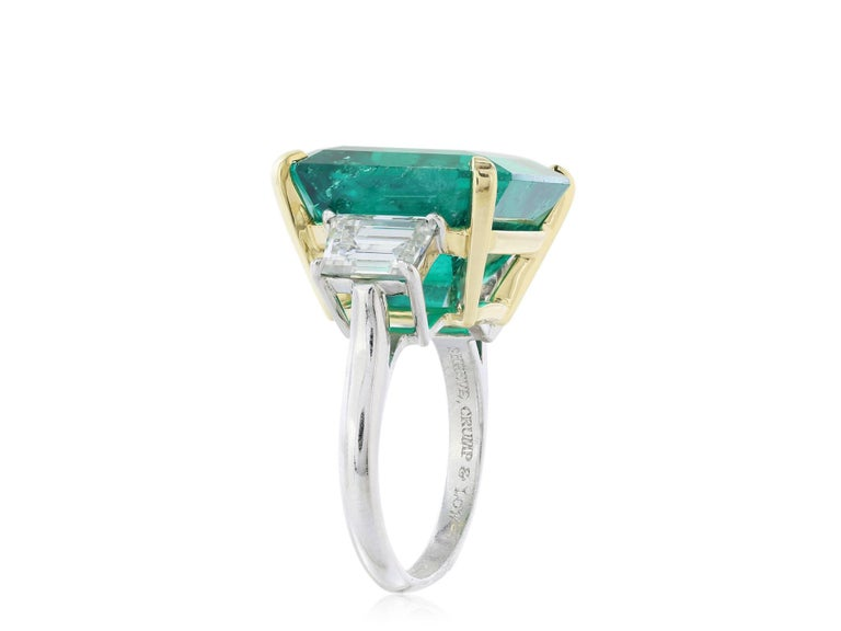 Emerald Cut Shreve, Crump & Low Magnificent 16.11 carat AGL Colombian Emerald & Diamond Ring For Sale
