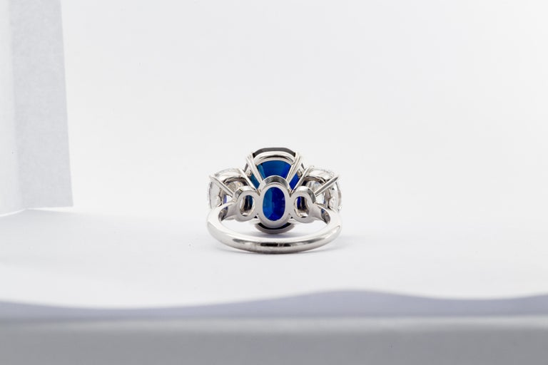 10.88 Carat Jewel of Kashmir Sapphire and Diamond Three Stone Ring In Excellent Condition For Sale In Chestnut Hill, MA